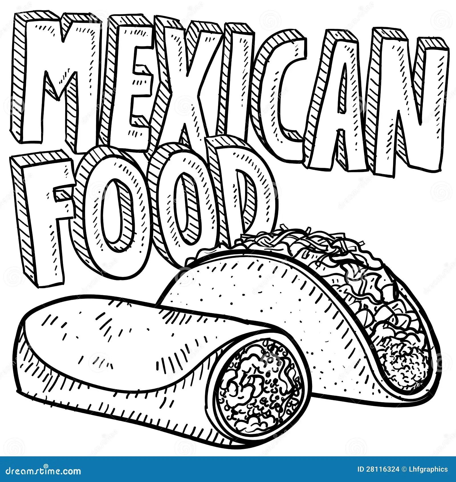 Mexikanische Nahrungsmittelskizze Vektor Abbildung