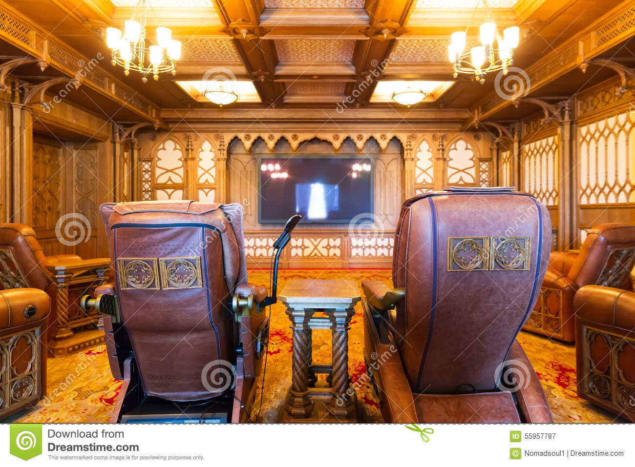 theatre room chairs wheelchair brands media with home theater stock photo