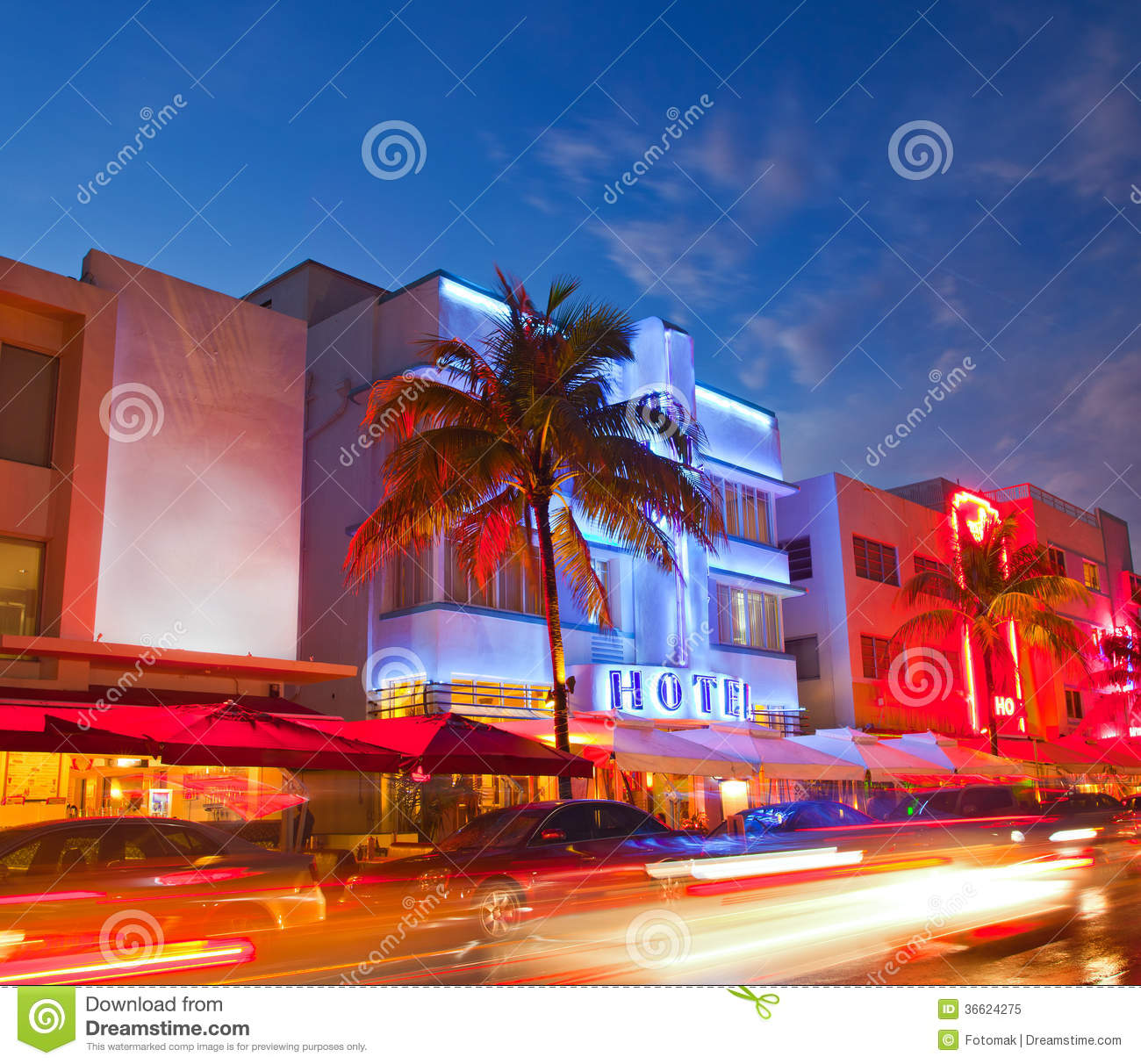 miami beach florida hotels and restaurants at sunset royalty free stock photos