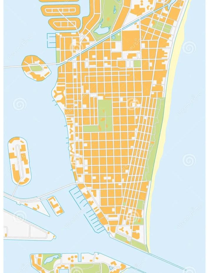 miami beach-straßenkarte, florida stock abbildung