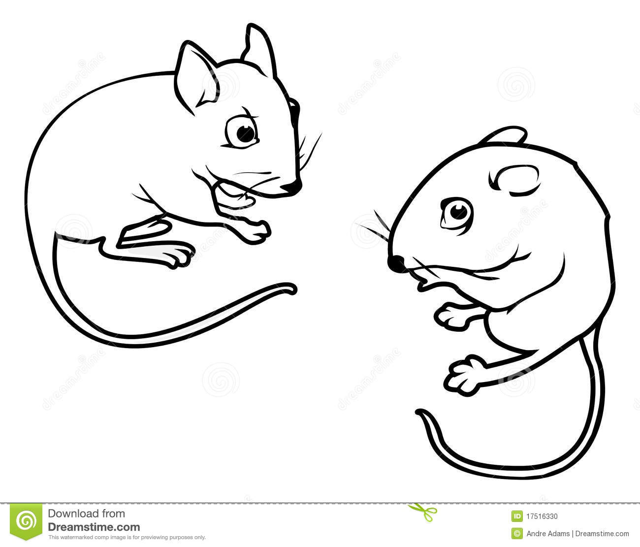Mice outlines stock vector. Image of tiny, black, mammal