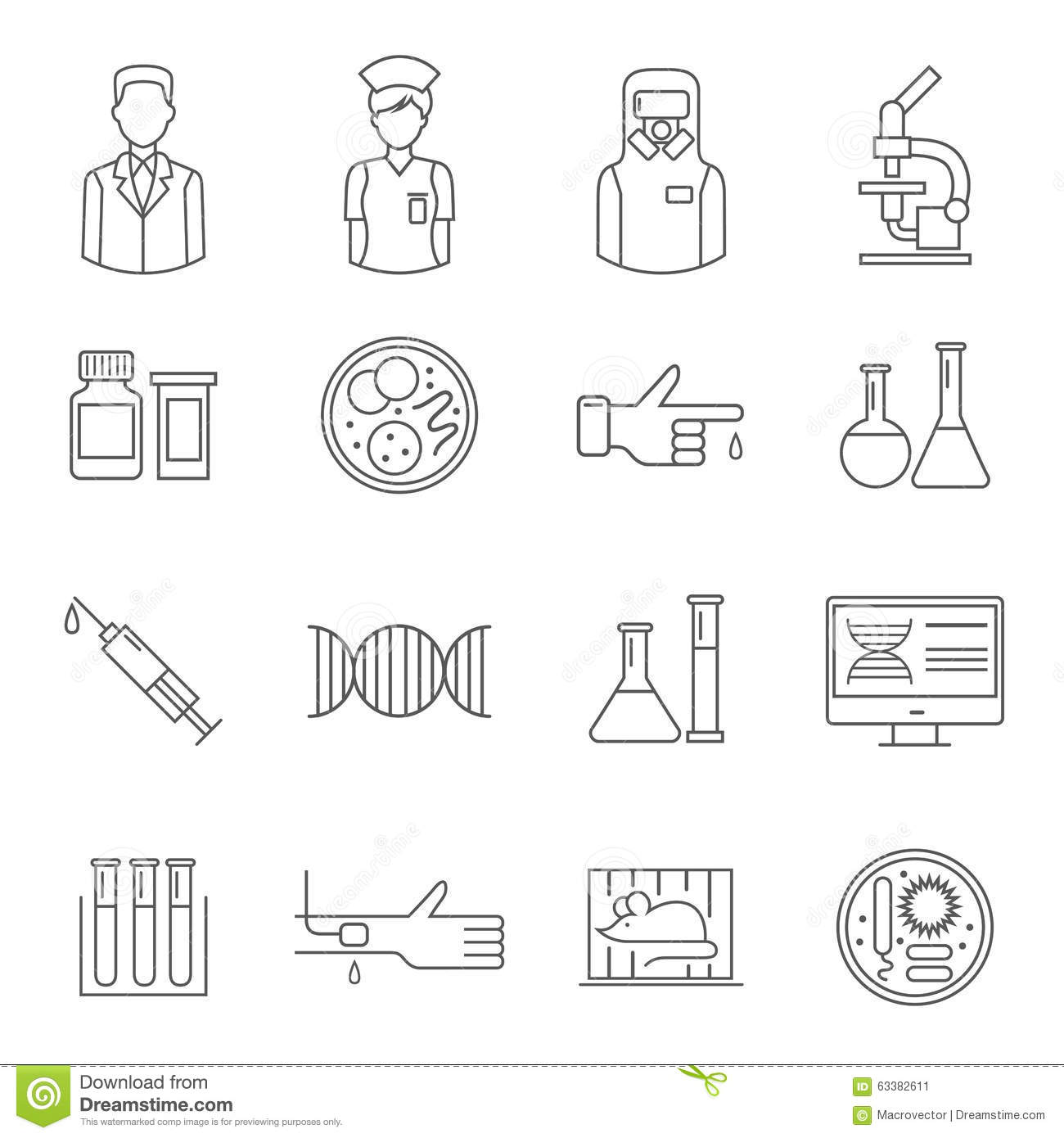 Vector Laboratory Background Line Icons Set And Design Elements Cartoon Vector