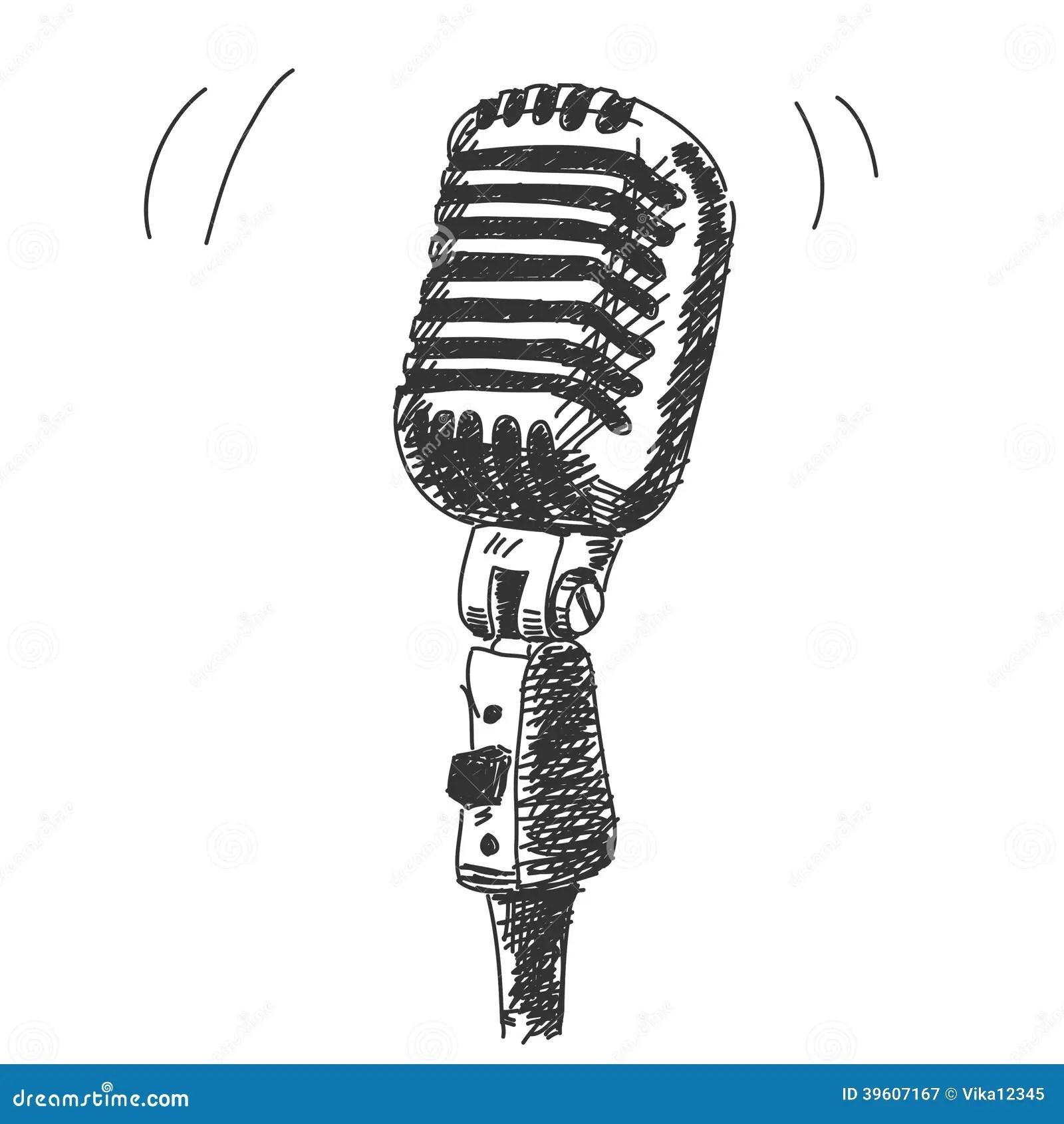 Microfone Tirado Mao Do Estudio Ilustracao Do Vetor