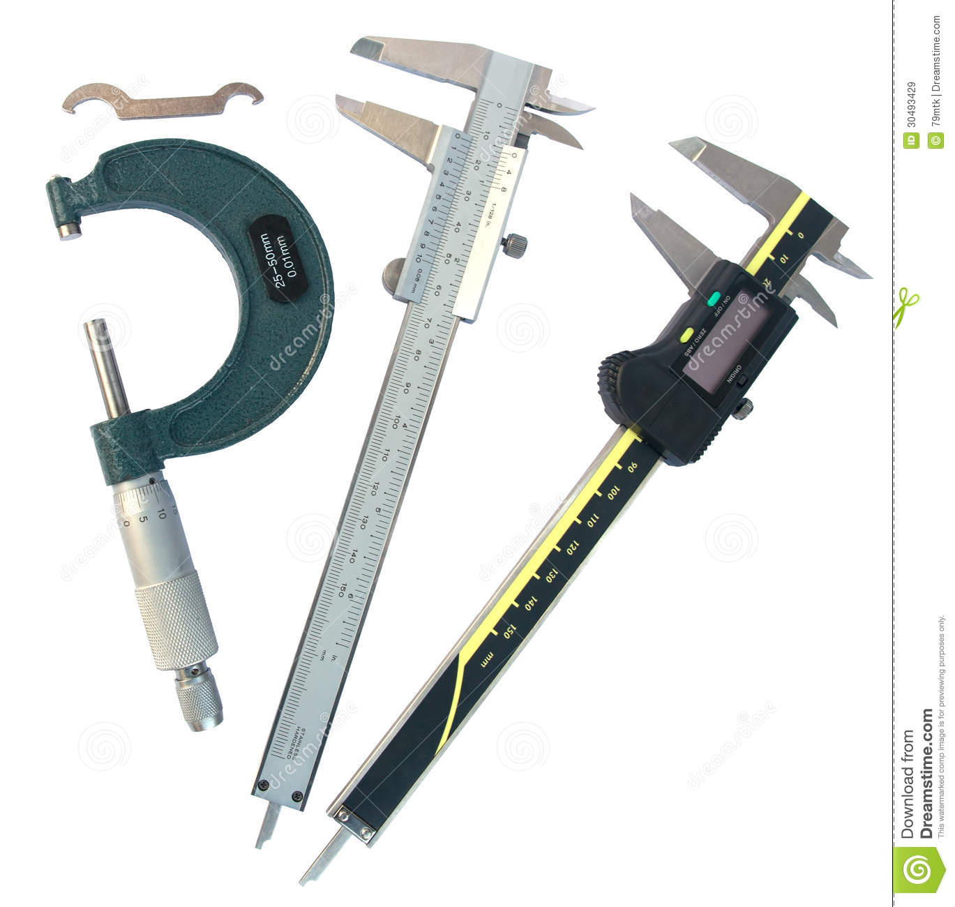 Micrometer And Vernier Caliper With Clipping Paths Royalty Free Stock Images