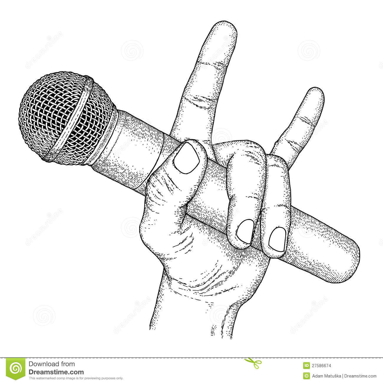Microphone Stock Vector Illustration Of Drawn Hand