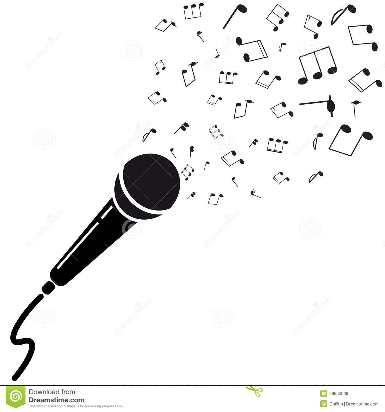 Microphone Black Silhouette With Notes Stock Illustration