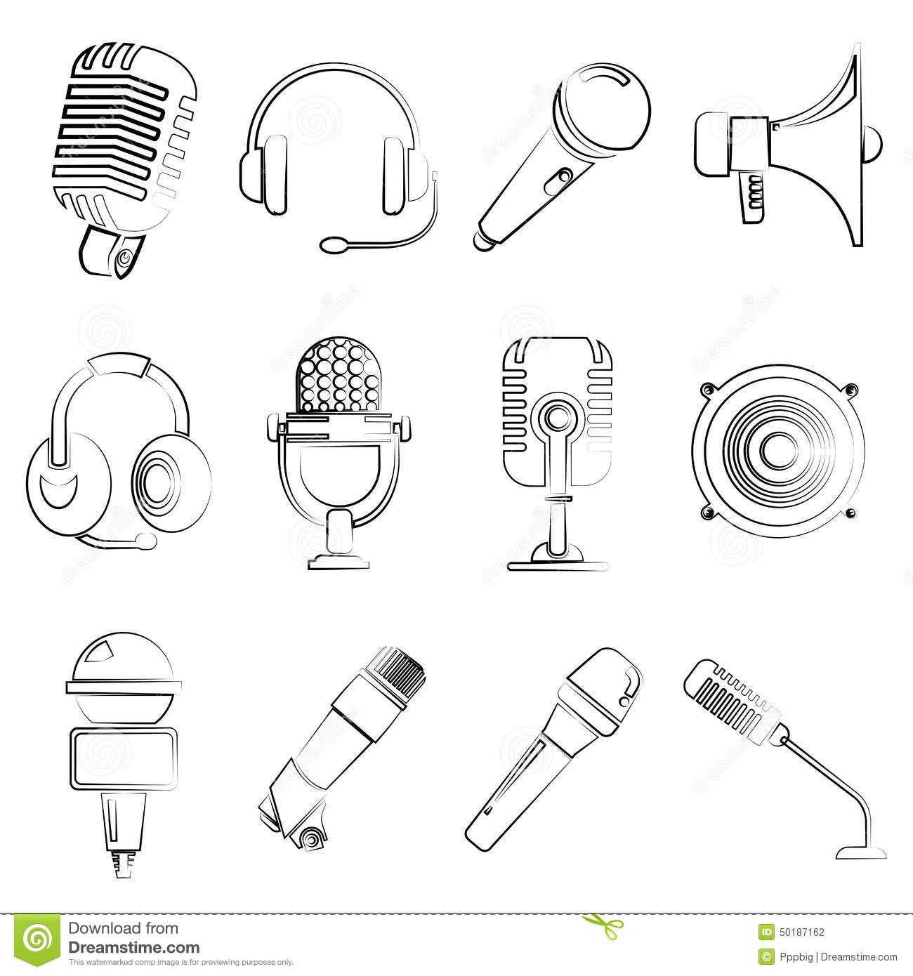 Microphone Electronic Device Icons Stock Illustration