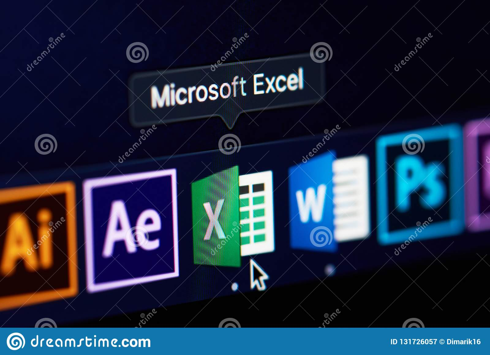 Microsoft Excel Icon On Screen Editorial Photography