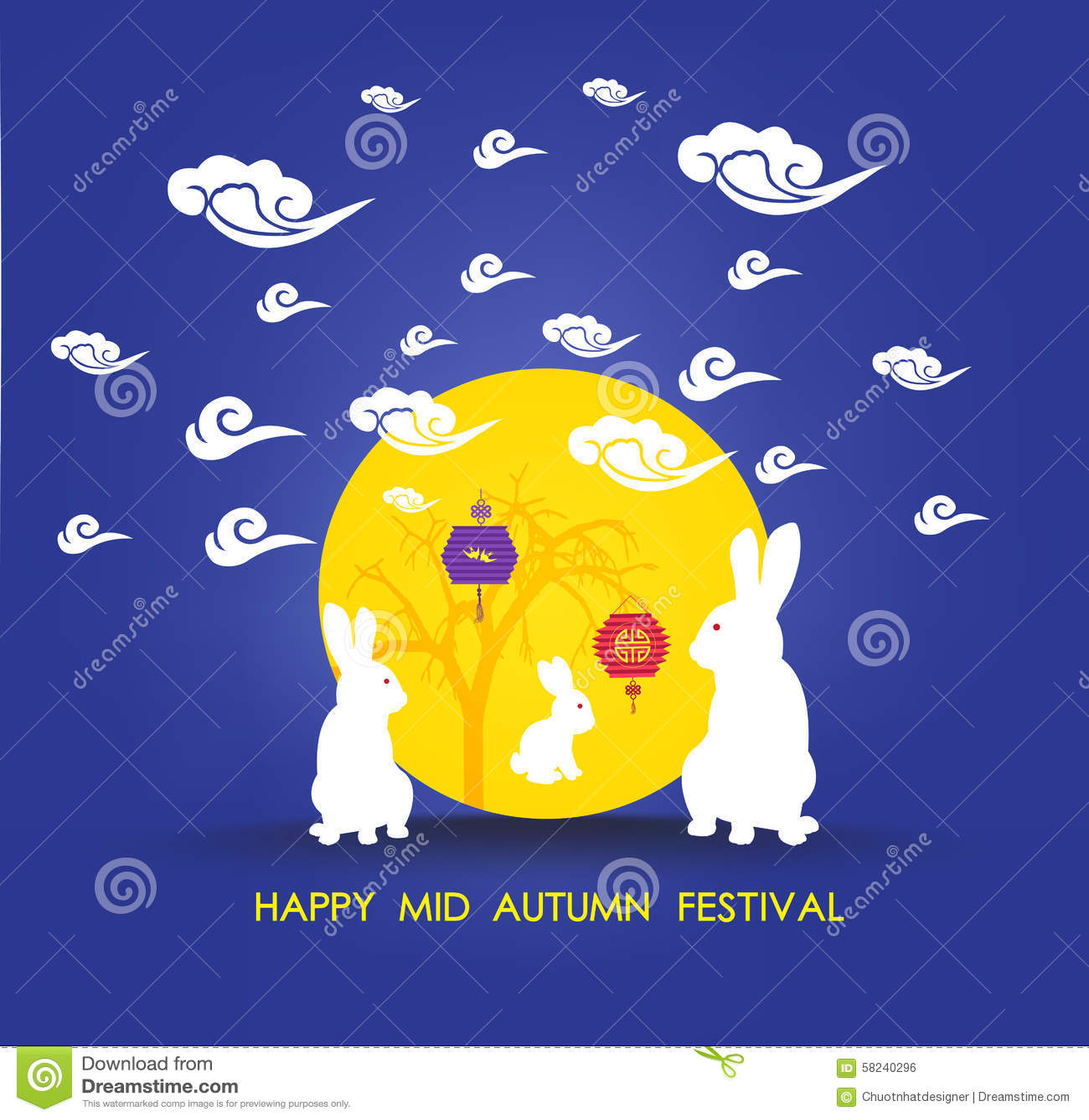 Cute Cartoon Family Wallpaper Mid Autumn Lantern Festival Full Moon And Rabbit Family