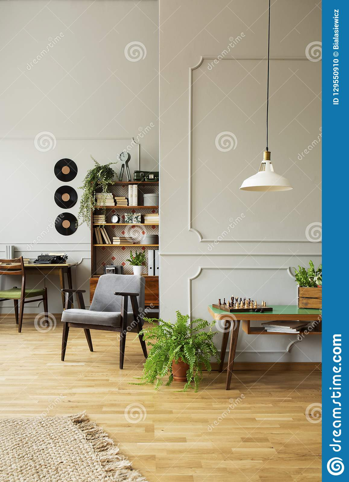 mid century modern living room armchair interior colors in a gray with wooden furniture workspace