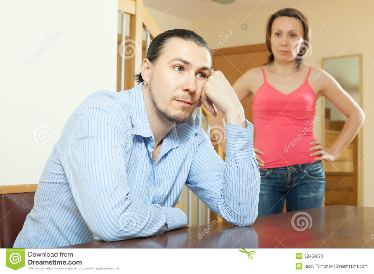 Middle Aged Married Couple Having Quarrel Stock Photo