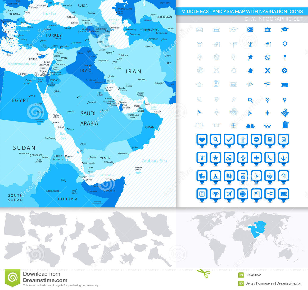 Middle East And Asia Map With Navigation Icons Stock
