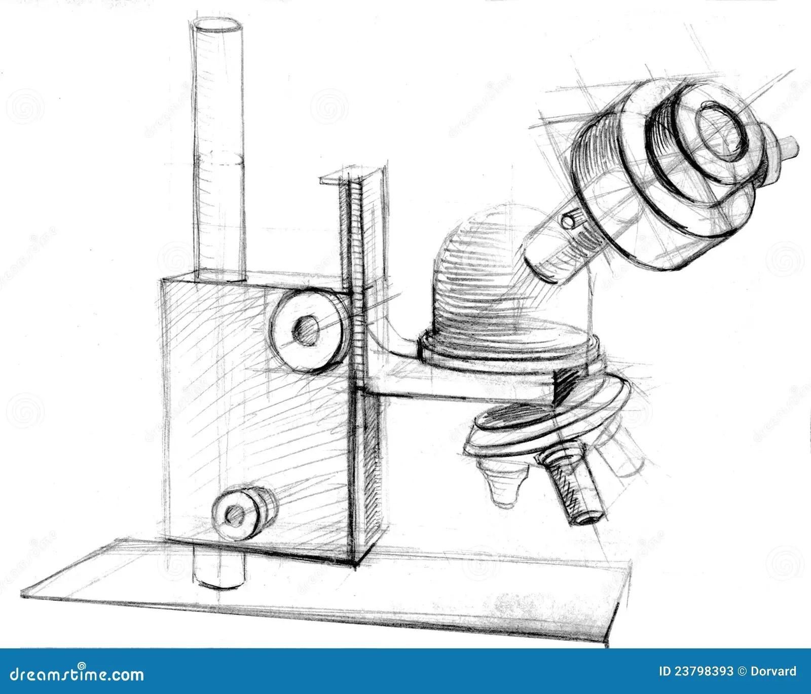 Mikroskophand Gezeichnet Stockfotos