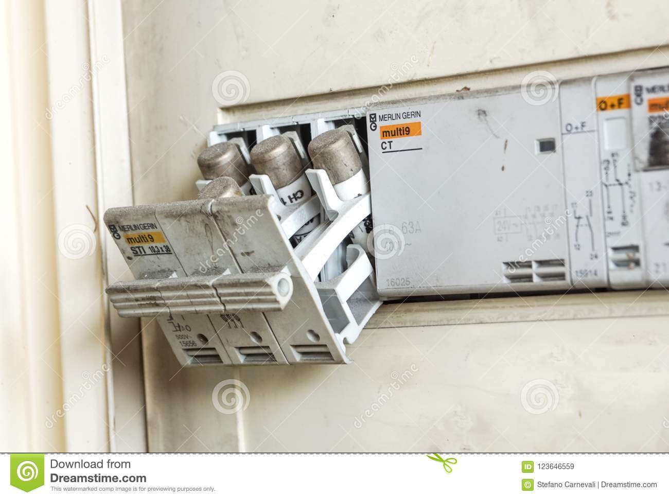 hight resolution of milan italy june 30 2018 electricity main center and old electrical fuse box with porcelain fuses