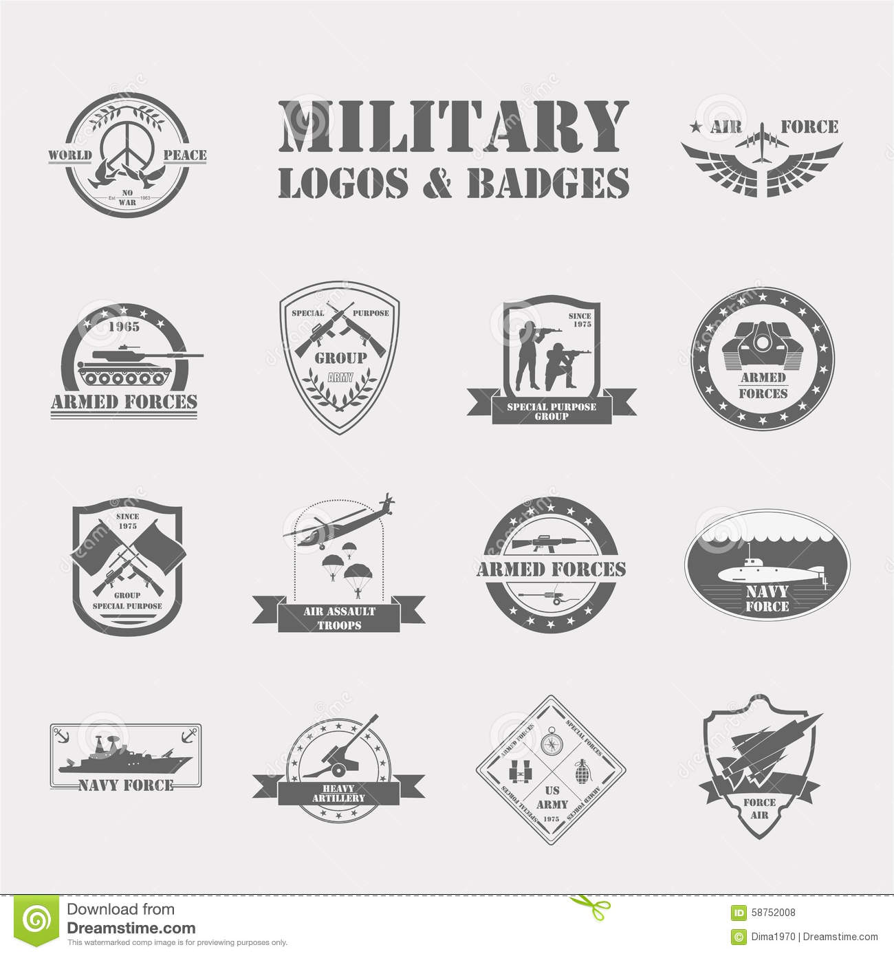 Military And Armored Vehicles Logos And Badges. Graphic