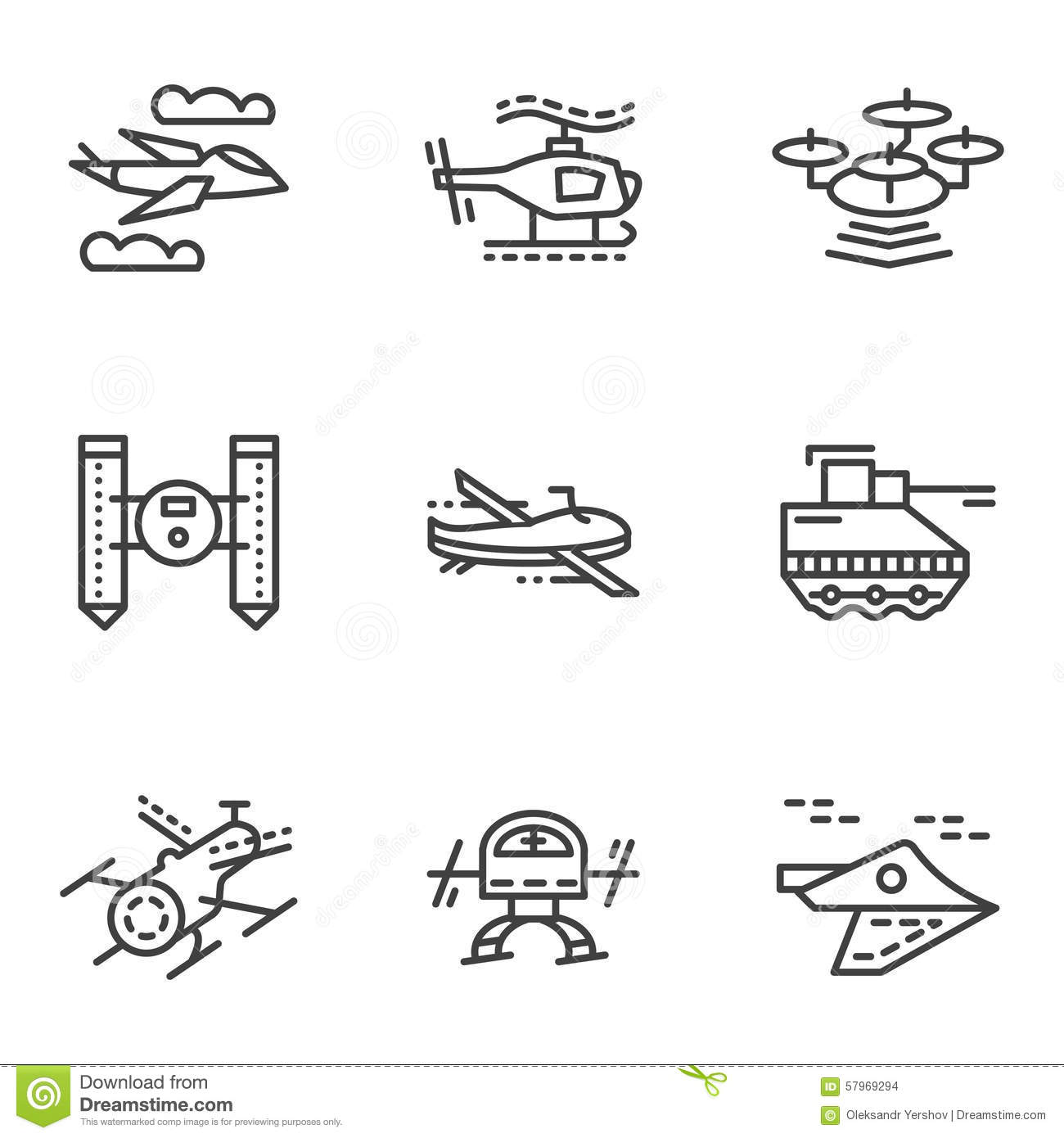 Military Drones Simple Line Icons Stock Illustration