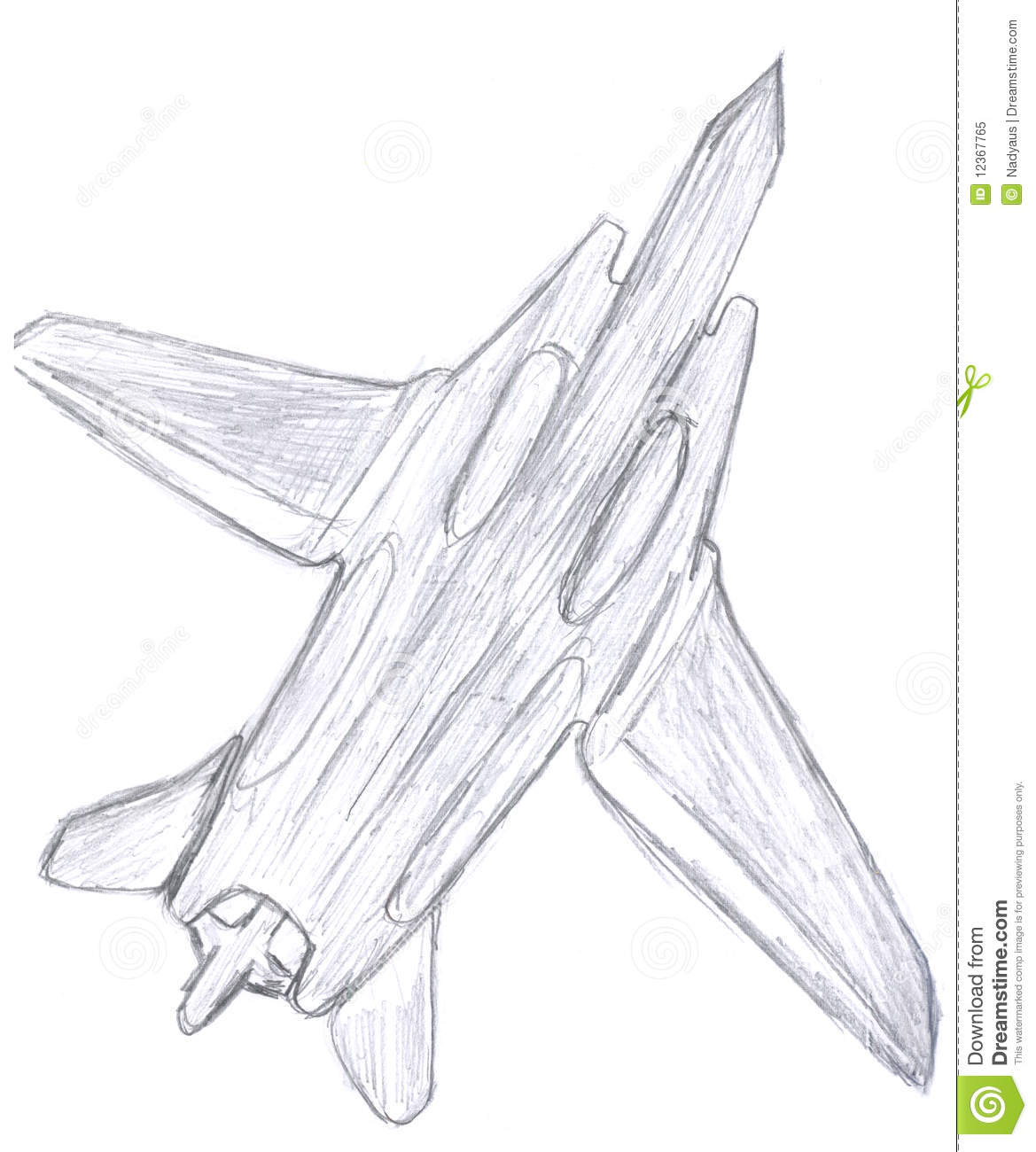 Military Fighter Aircraft Sketch Royalty Free Stock Photo