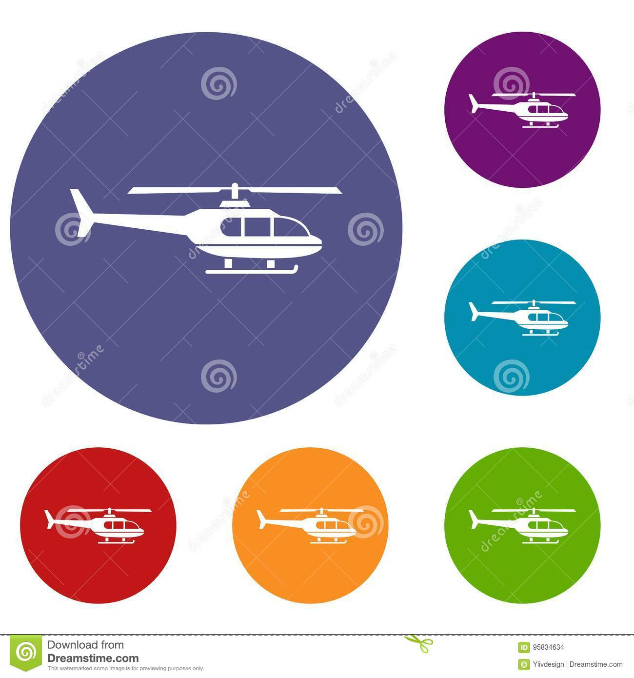 hight resolution of military helicopter icons set