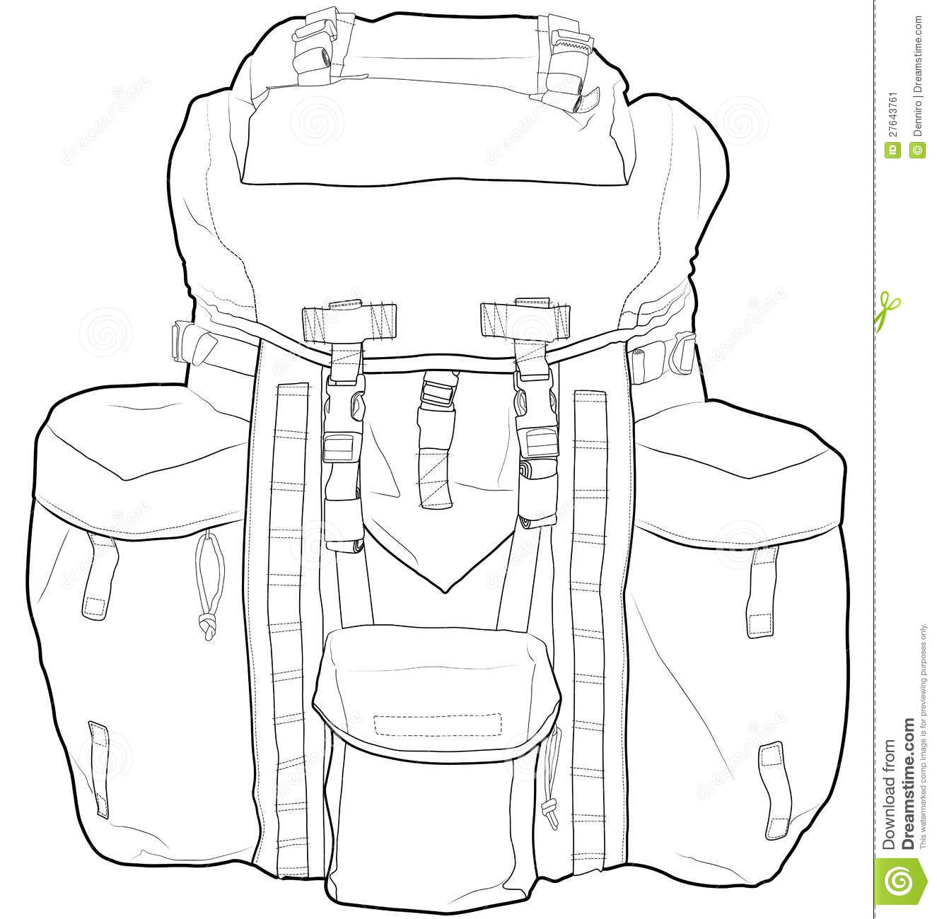 Military Or Hiking Backpack Outline Vector Illustr Stock Image