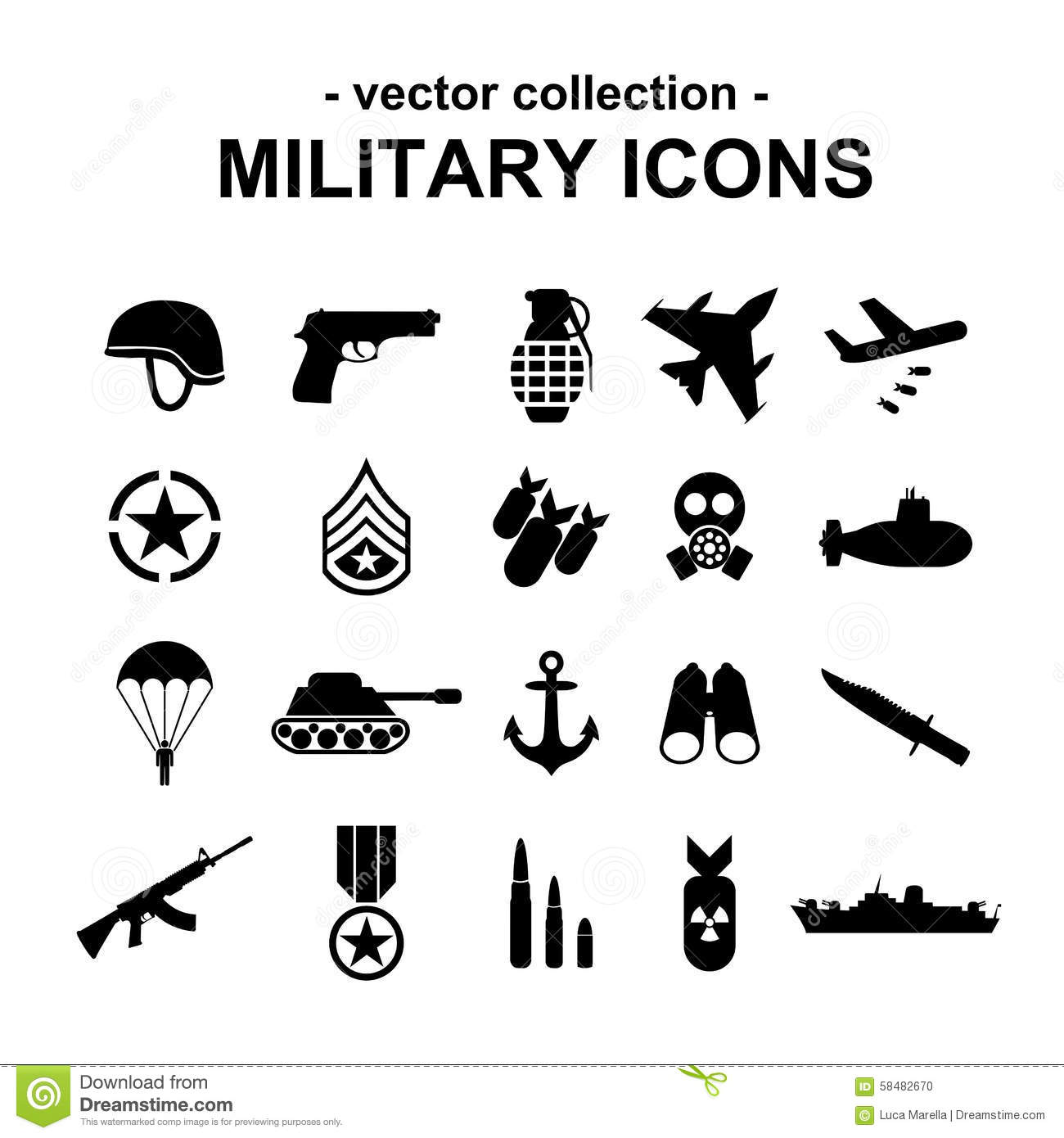 Military Icons Stock Vector Illustration Of Captain