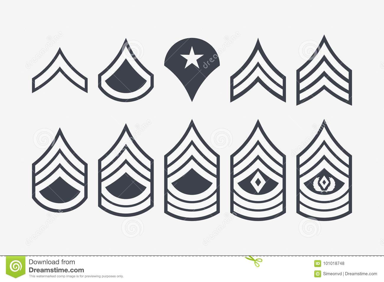 Military Ranks Stripes And Chevrons Vector Set Army