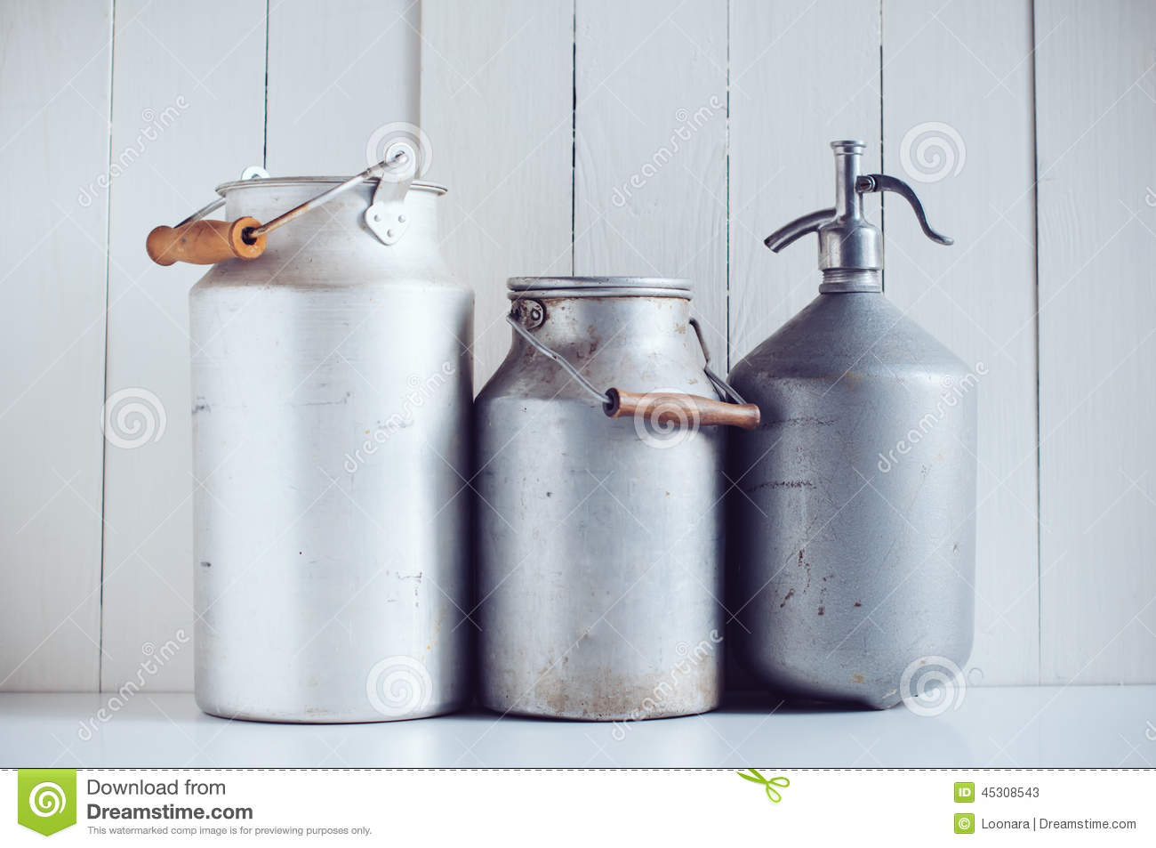 Milk Cans And A Siphon Stock Image Image Of Handle 45308543