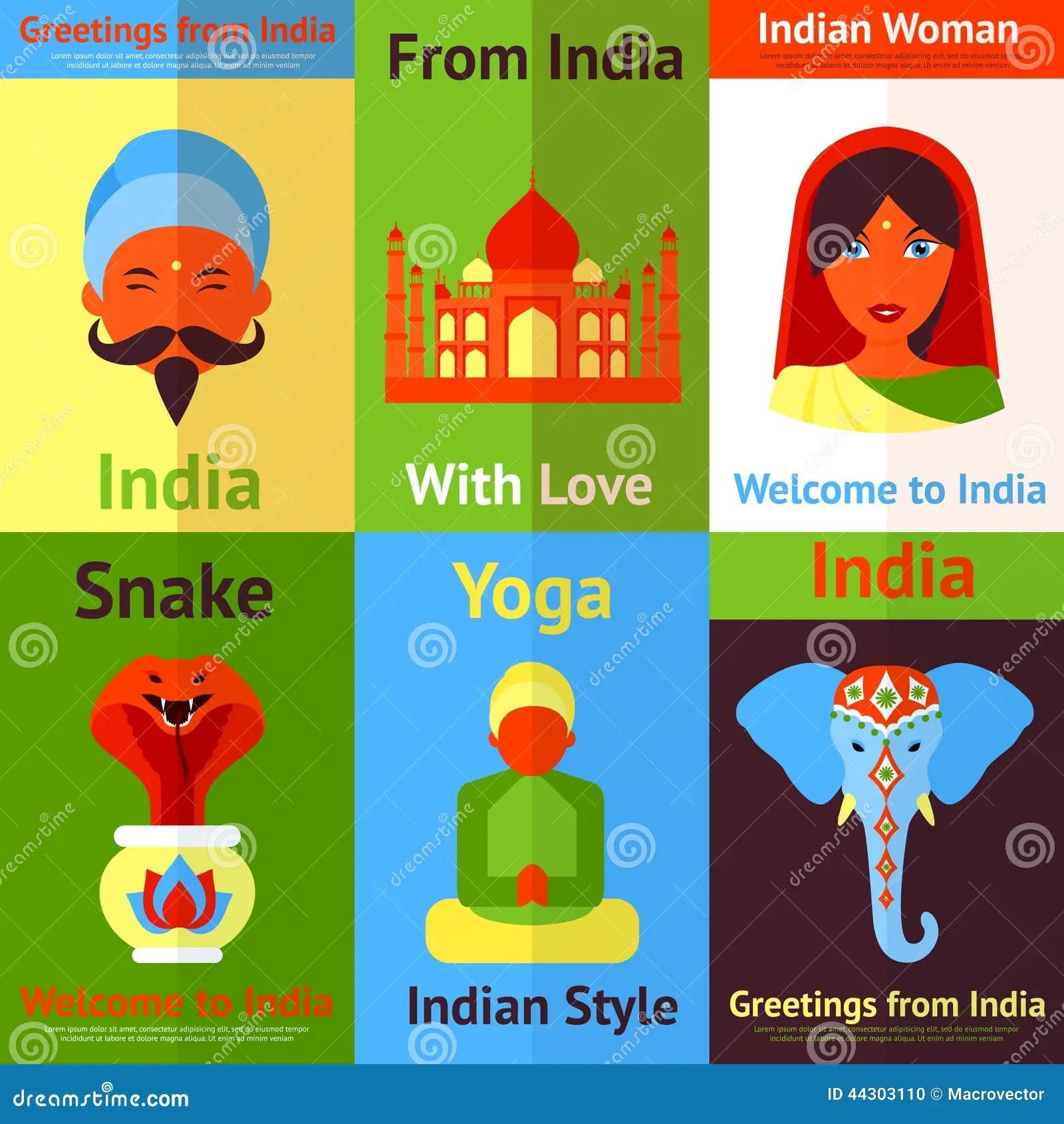Mini Cartel De La India Ilustracion Del Vector