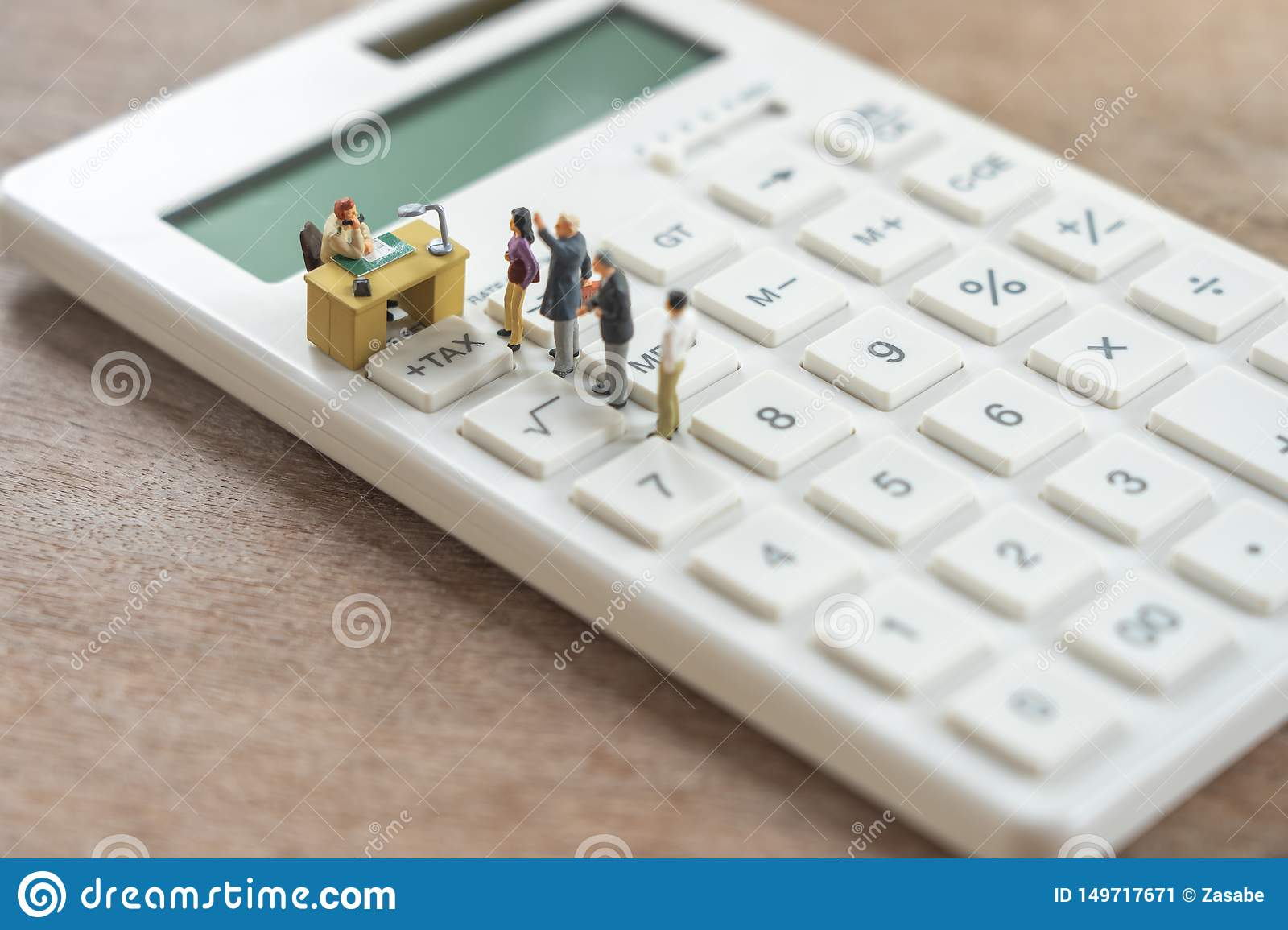 Miniature People Pay Queue Annual Income Tax For The Year