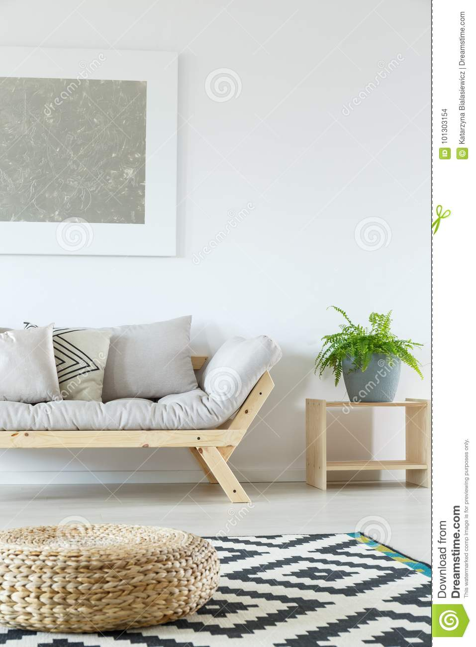 living room pouf pinterest curtains minimalist with stock photo image of beige loft