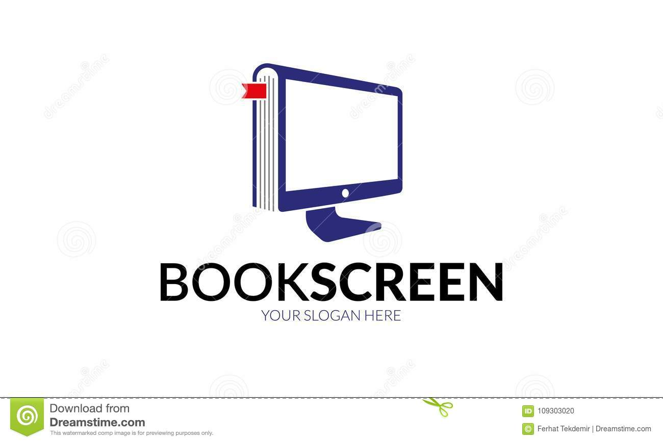 Book Screen Logo template stock vector. Illustration of