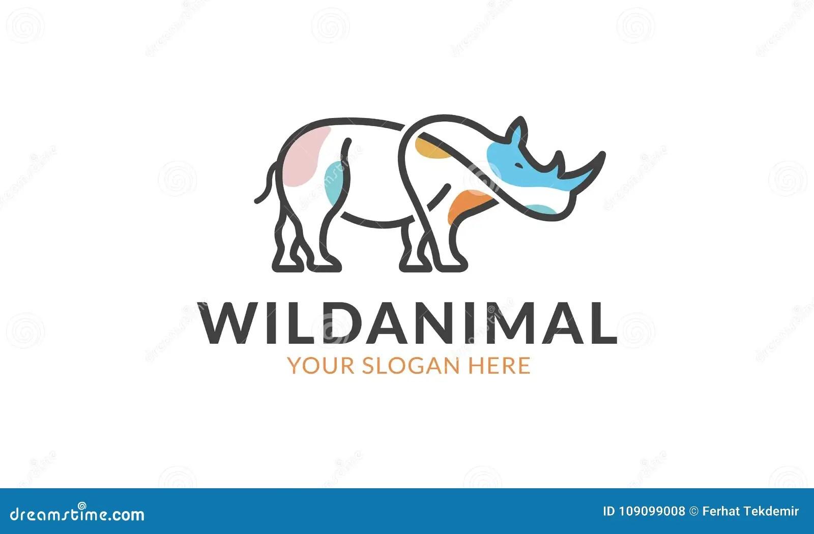Rhino Logo Template Stock Vector Illustration Of Safari