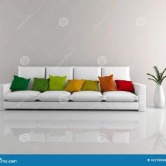 Red Sofa Pillows Ashley Furniture Victory Chocolate Minimalist White Stock Illustration. Image Of Blank ...