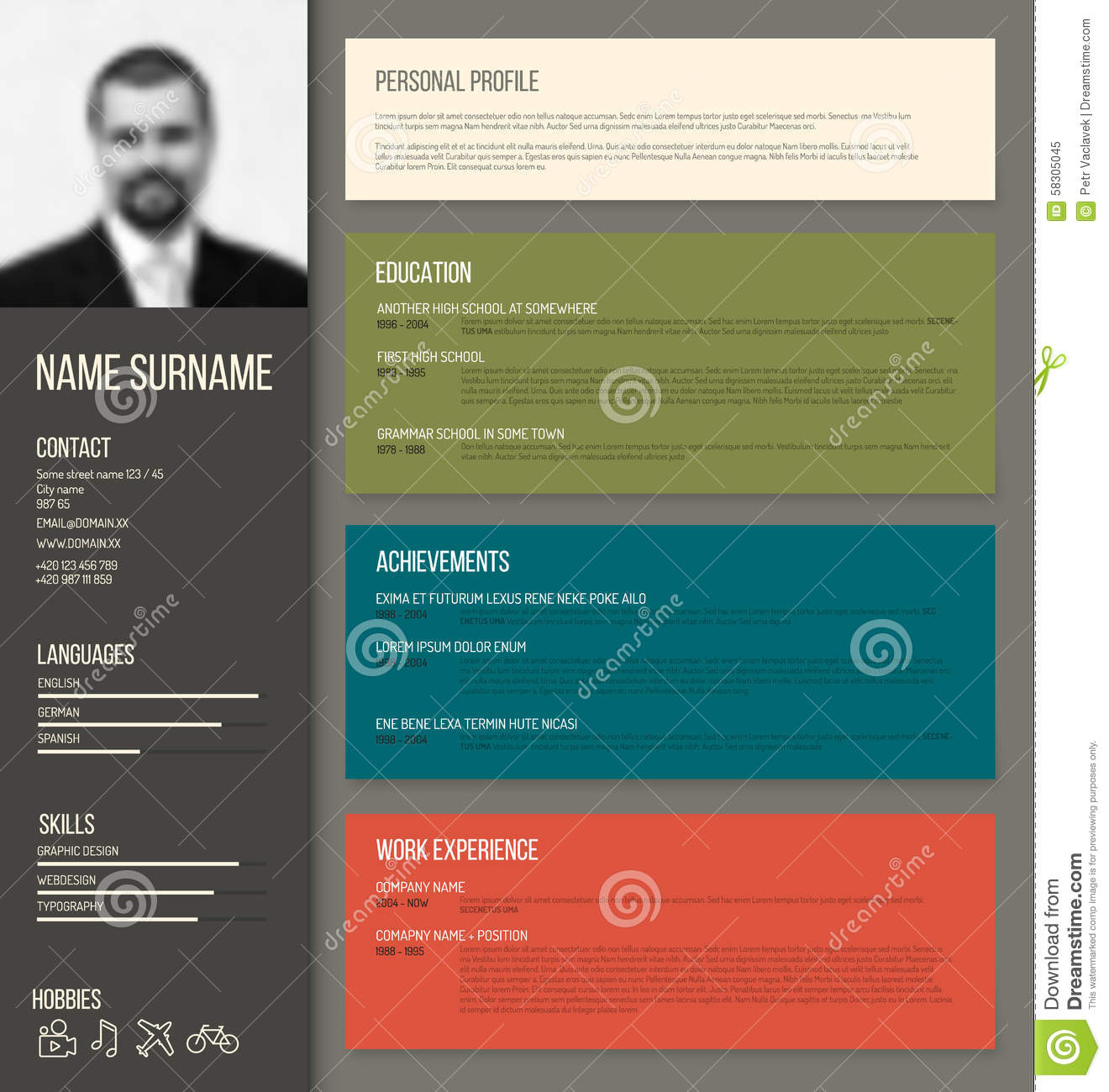 Minimalistic Cv  Resume Template Stock Vector  Image