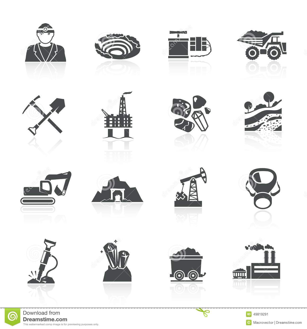 Mining Icons Black Stock Vector