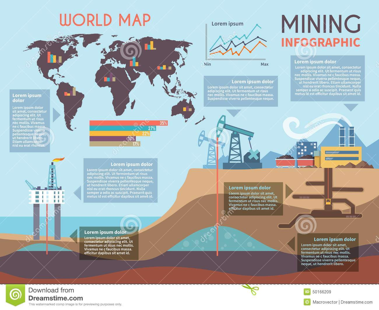 Mining Infographics Set Stock Vector  Image 50166209