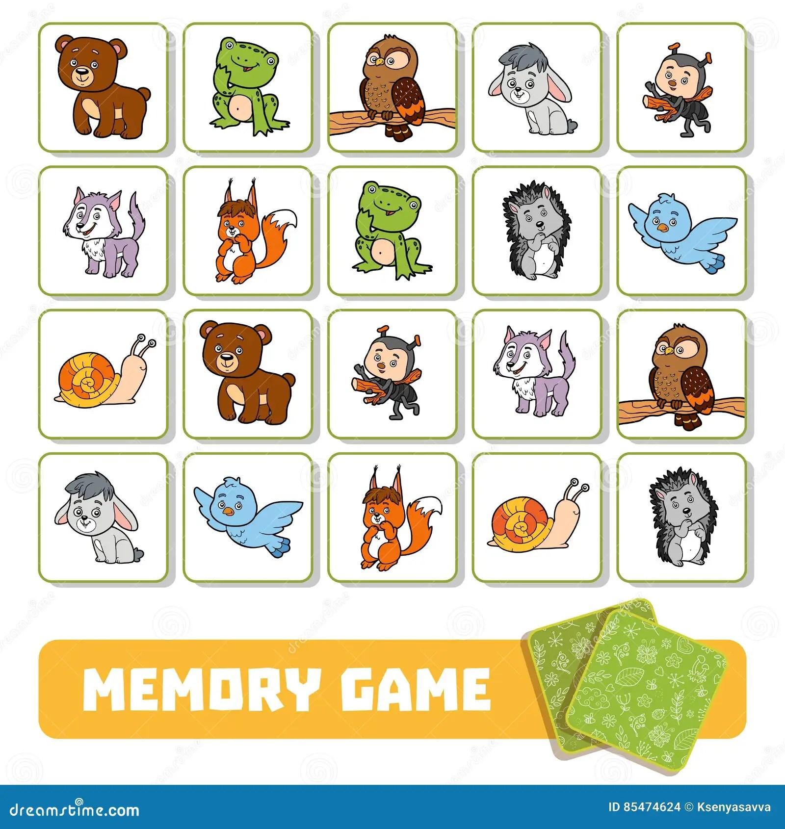 Minneslek For Barn Kort Med Skogdjur Vektor
