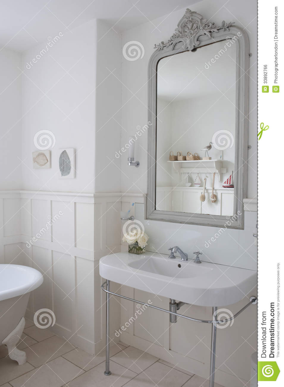 Mirror Above Bathroom Sink Royalty Free Stock Image