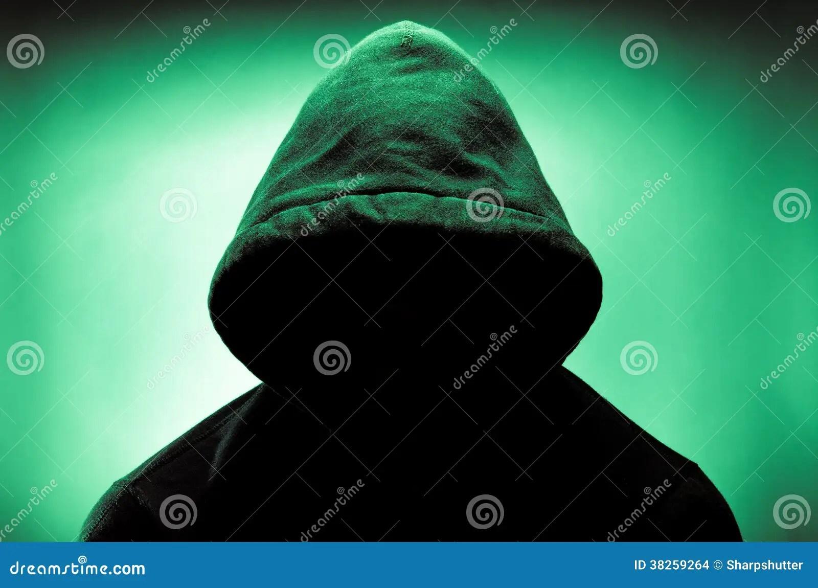 Hacker 3d Wallpaper Mit Kapuze Mann Mit Gesicht Im Schatten Stockfoto Bild