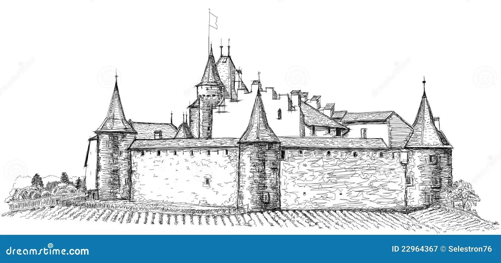 Mittelalterliches Schloss Aigle In Der Schweiz Vektor
