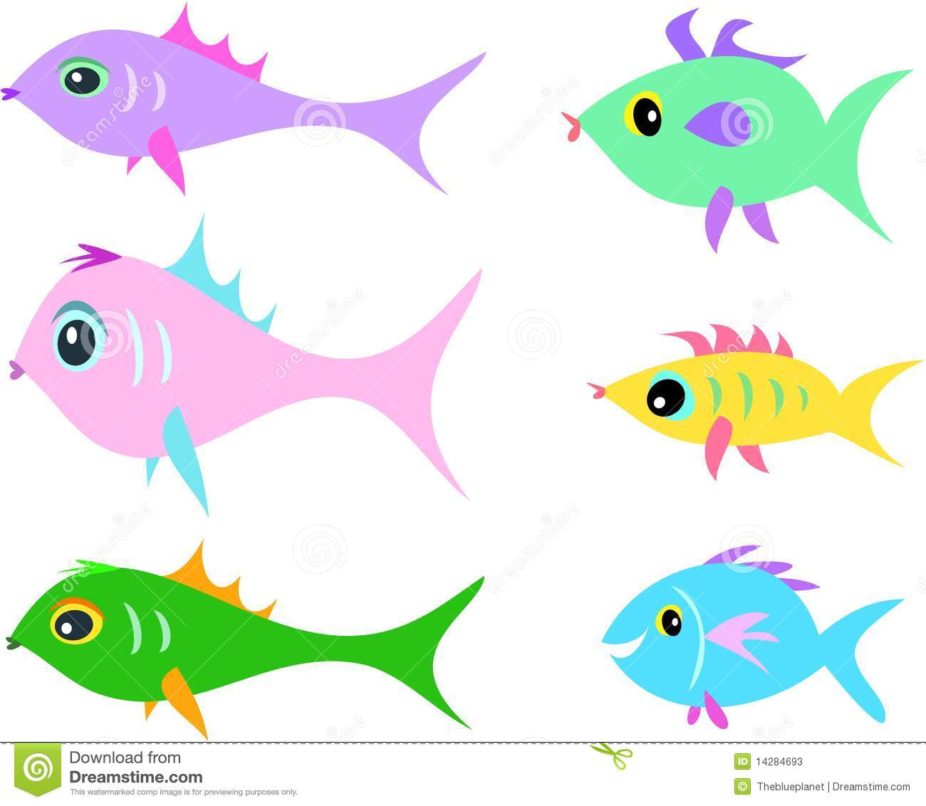 Mix Of Fish Of Different Shapes Stock Photos