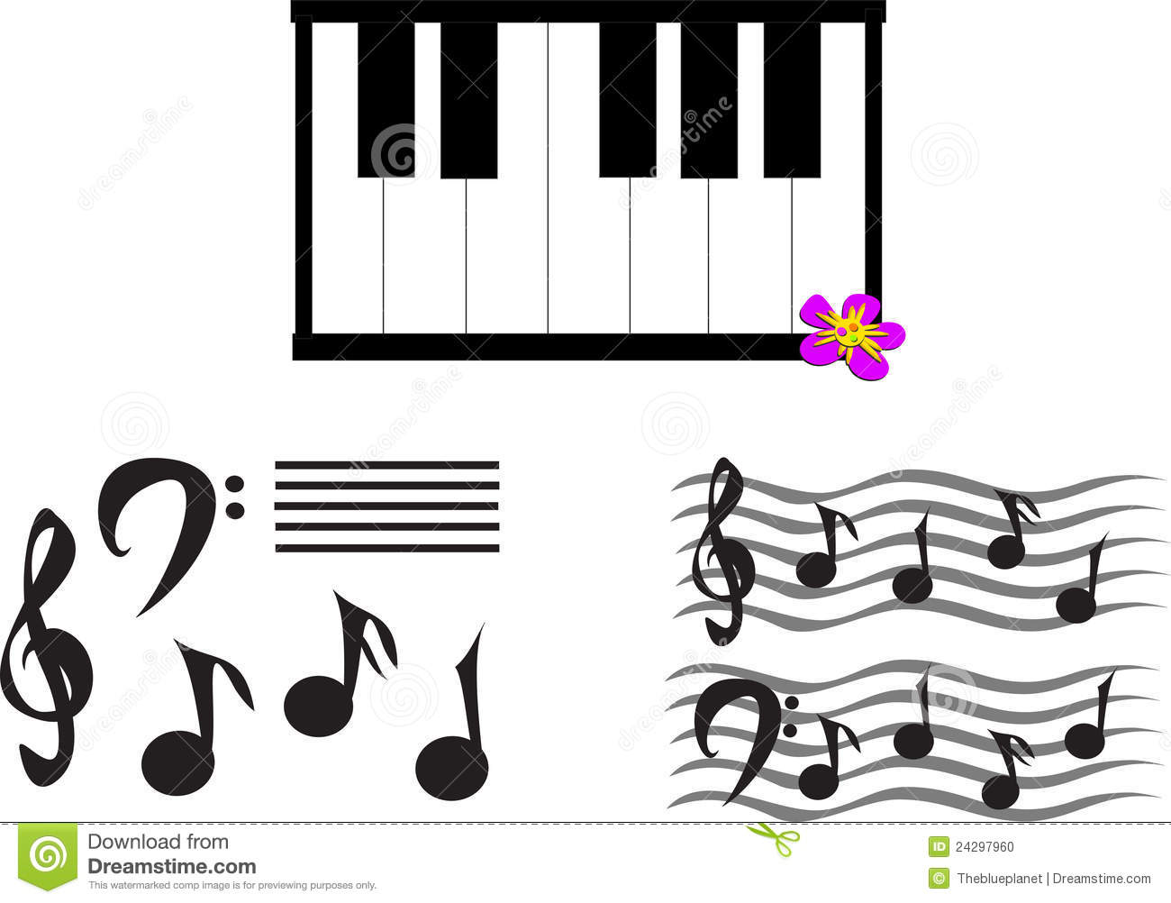 Mix Of Musical Notes, Symbols, And Keyboard Stock Vector