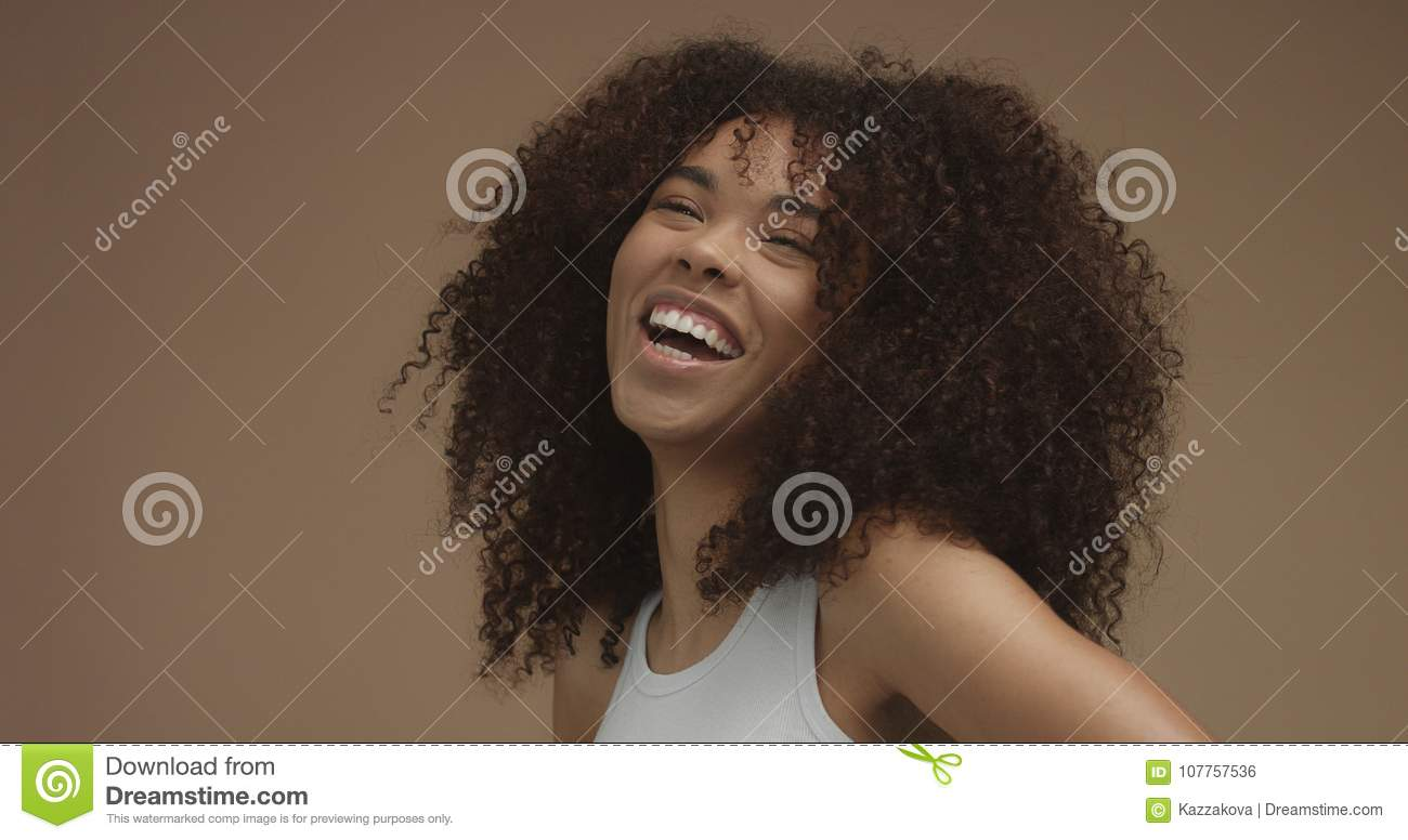 Mixed Race Black Woman Portrait With Big Afro Hair Curly Hair