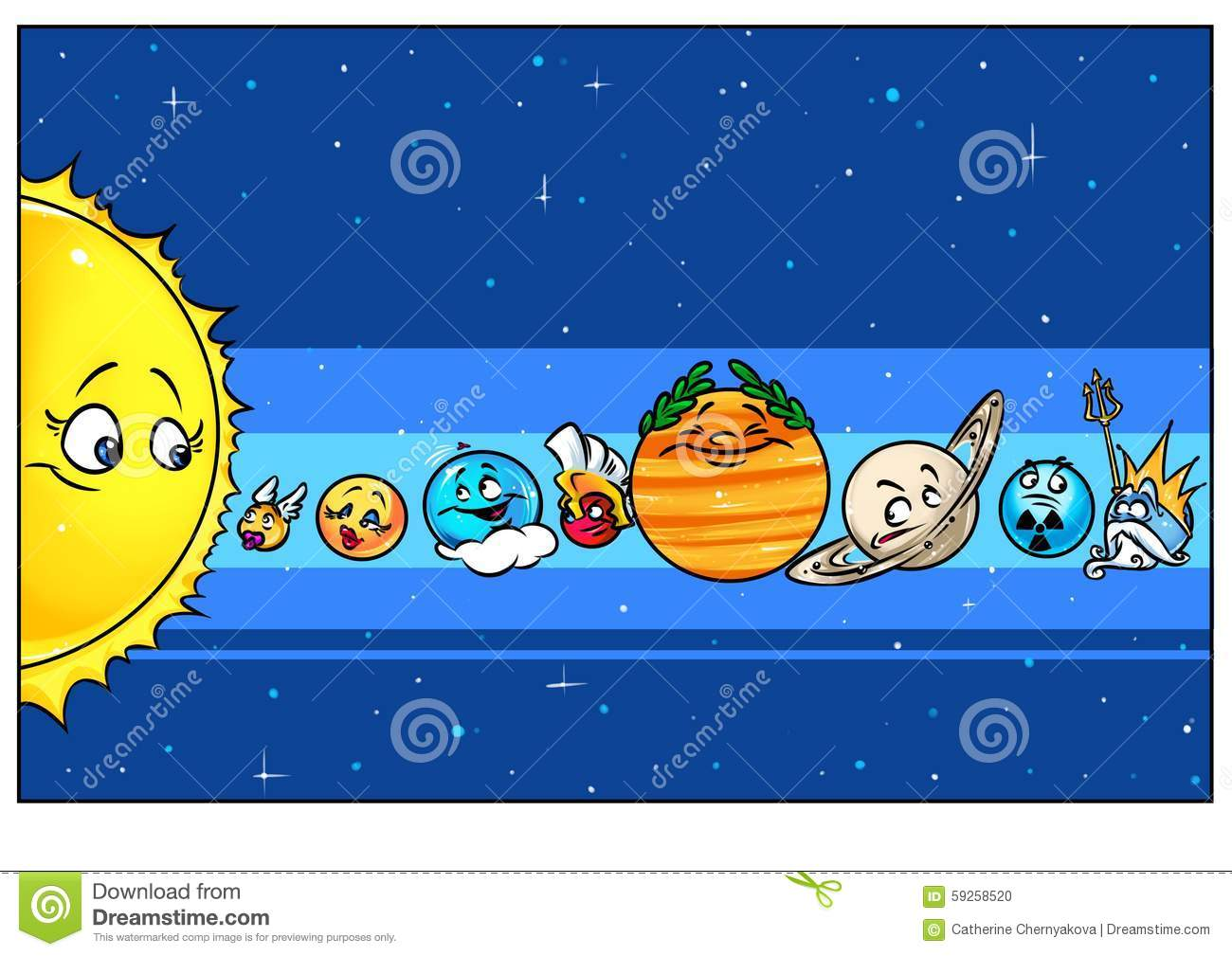 Mnemonic Card Planets Solar System Stock Illustration