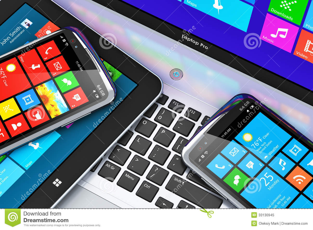 Mobile Devices With Touchscreen Interface Stock Illustration  Image 33130945