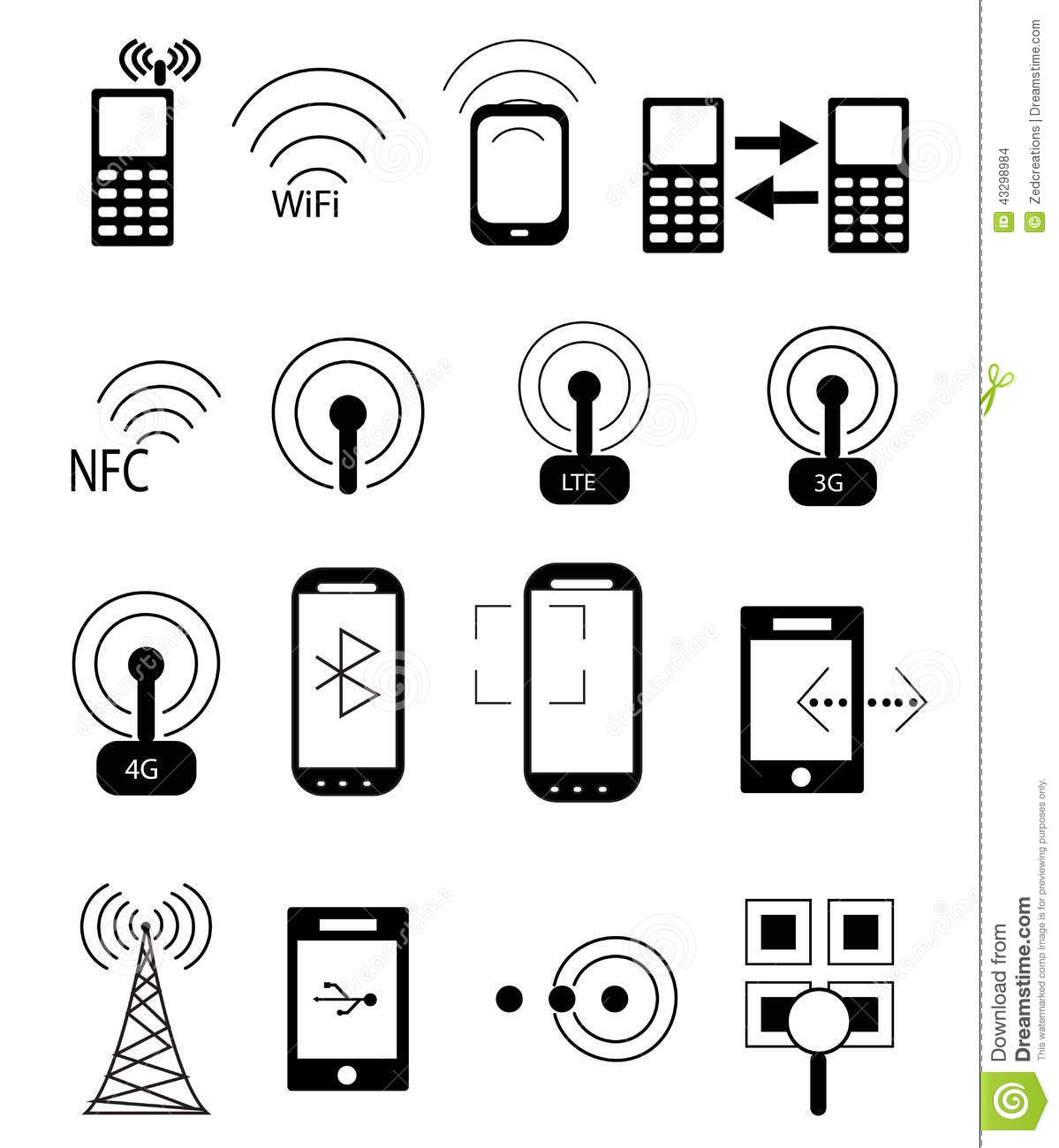 Mobile Network Icons Stock Vector