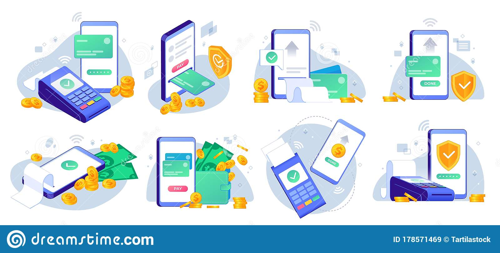 Mobile Payments Online Sending Money From Mobile Wallet To Bank Card Golden Coins Transfer App And E Payment Vector Stock Vector Illustration Of Checkout Cash 178571469
