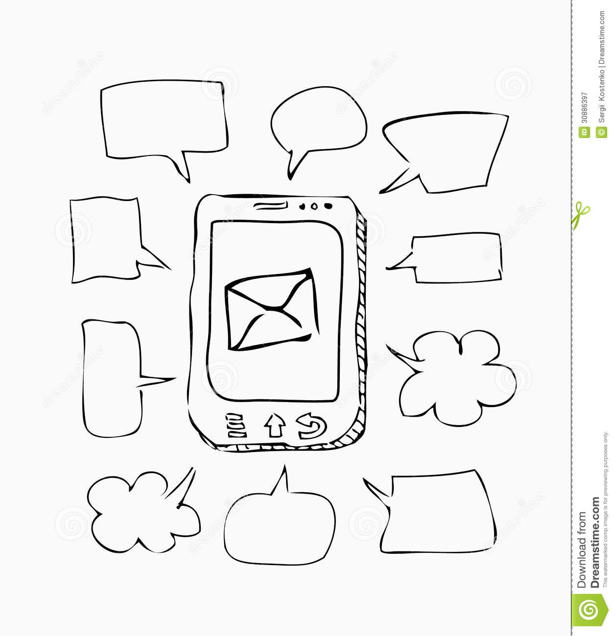 Mobile Phone Sketch With Speeches On White Royalty Free