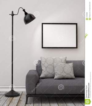 mock wall living poster background blank template lamp illustration