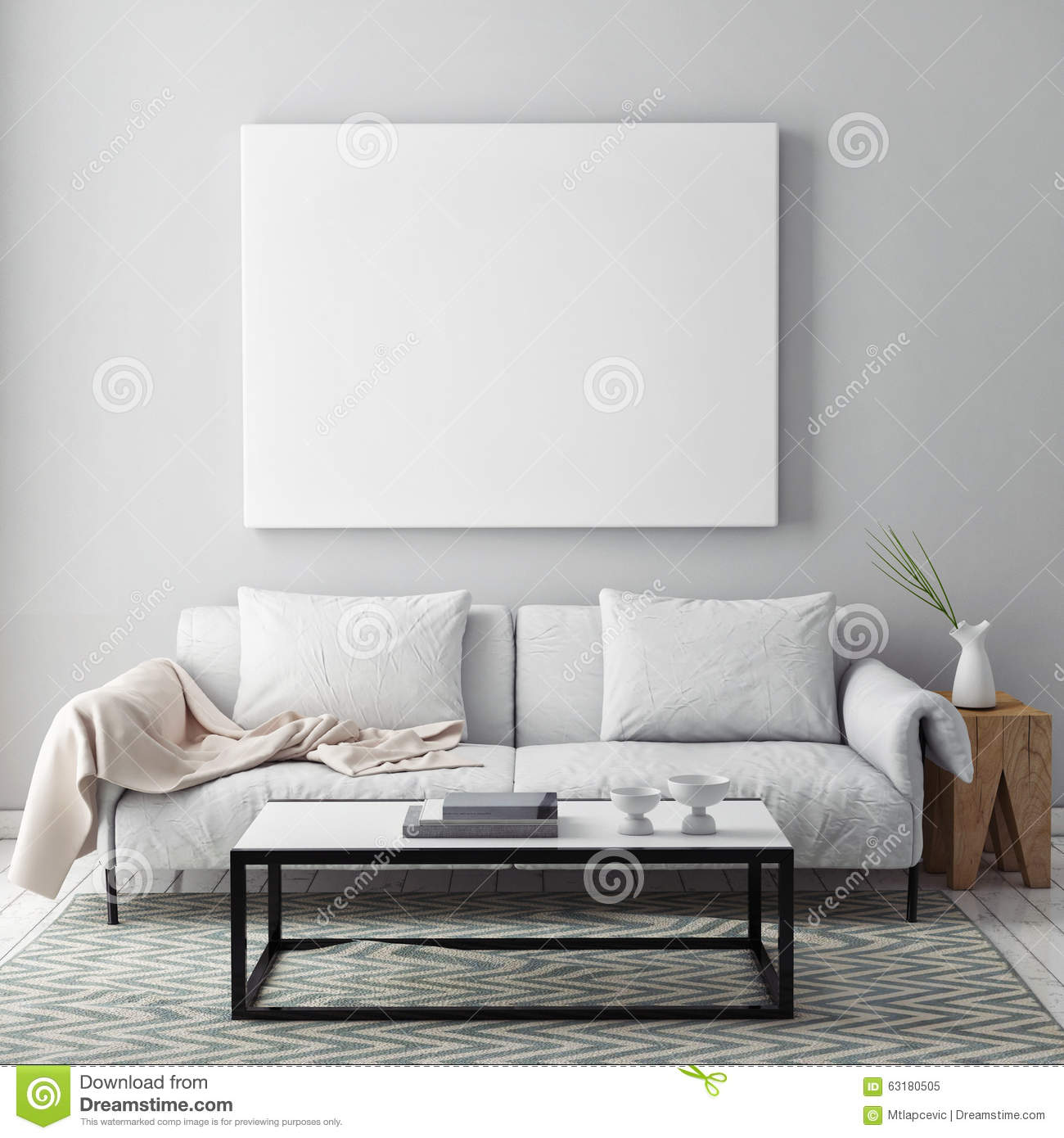 Mock Up Blank Poster On The Wall Of Livingroom Stock Image