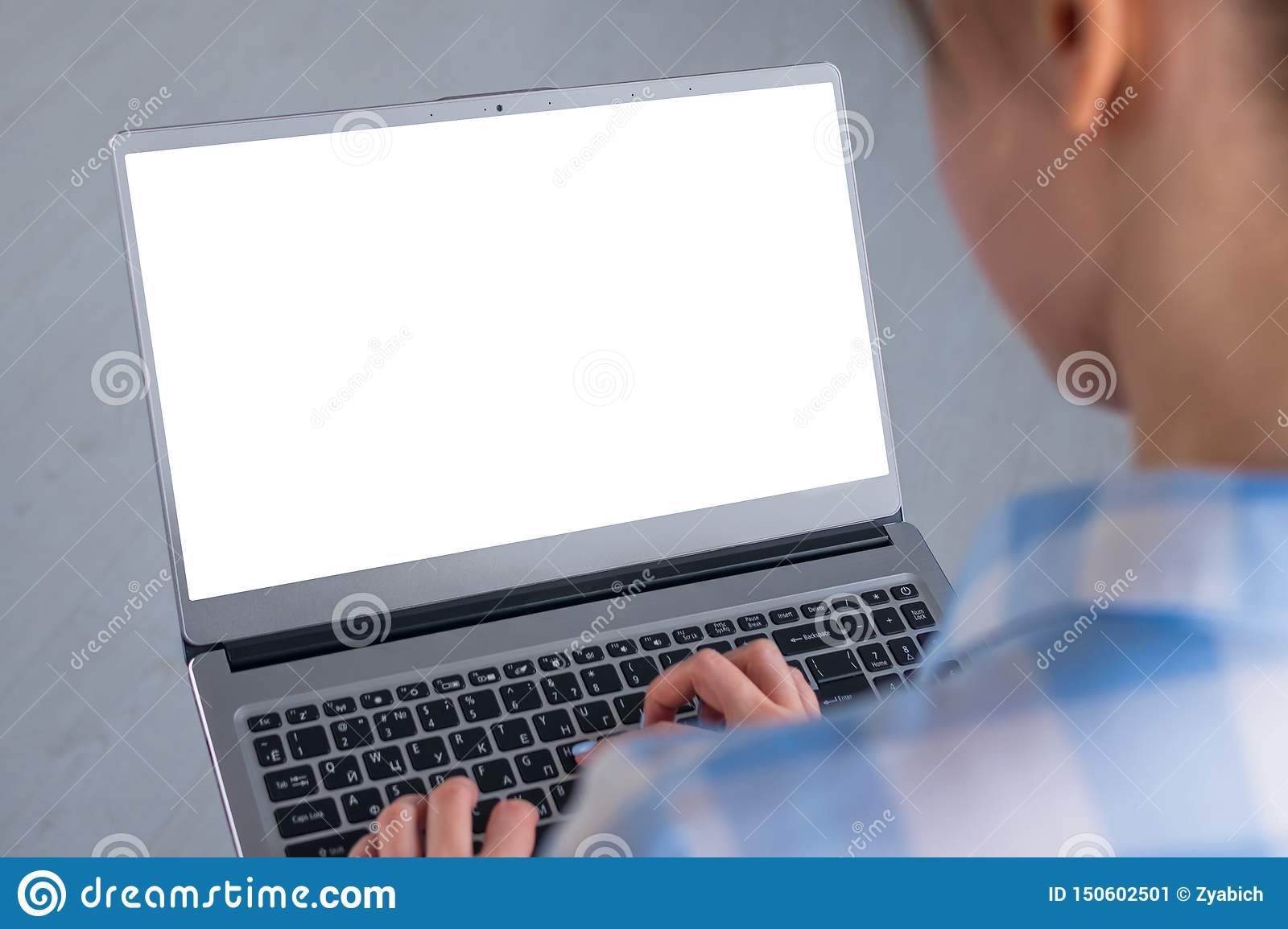 Woman Student Typing On Grey Laptop Computer Keyboard With